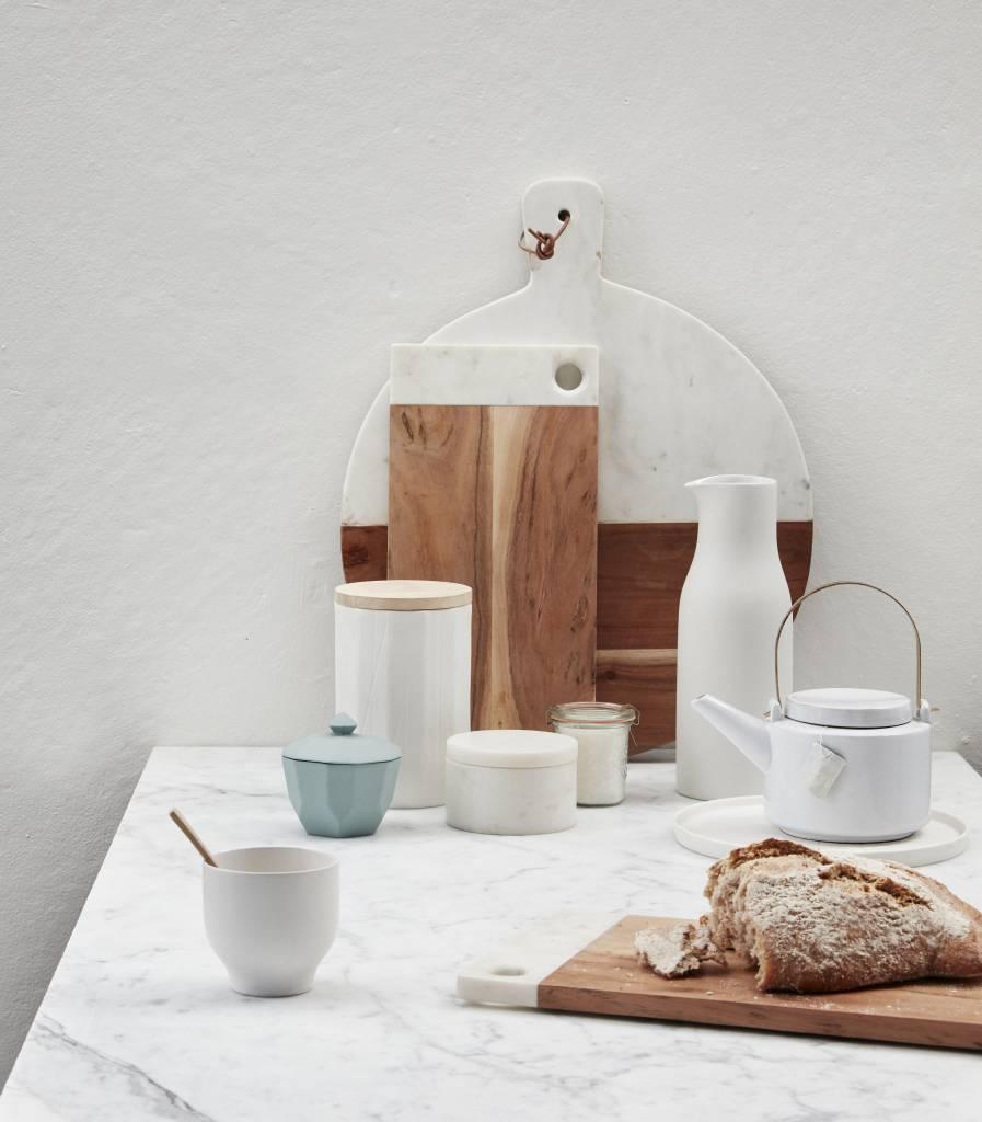Hubsch opbergpot wit porselein/hout - 3st