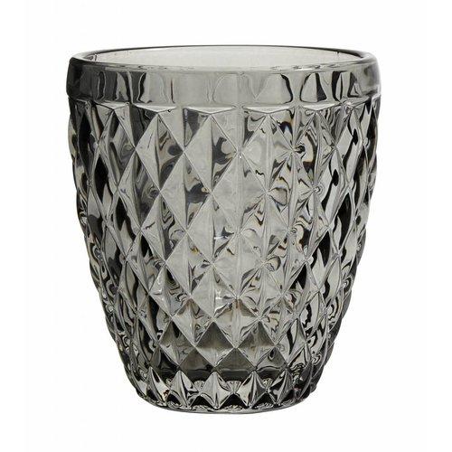 Nordal drinkglas Diamond grijs glas - h 10cm