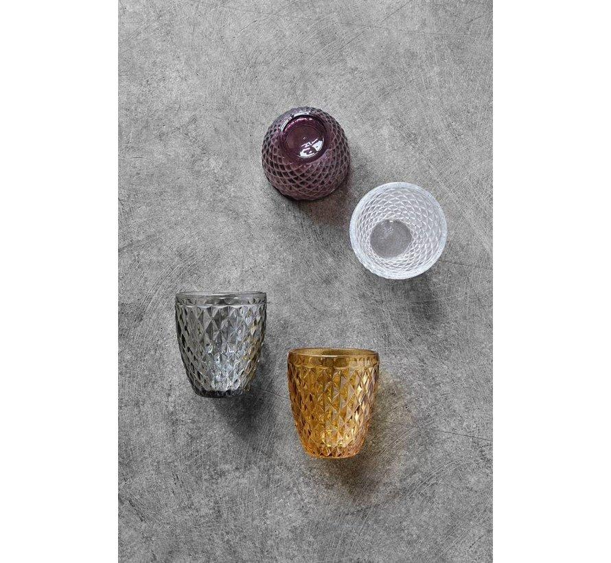 drinkglas Diamond paars glas - h 10cm