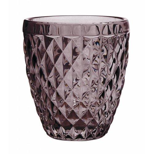 Nordal drinkglas Diamond paars glas - h 10cm