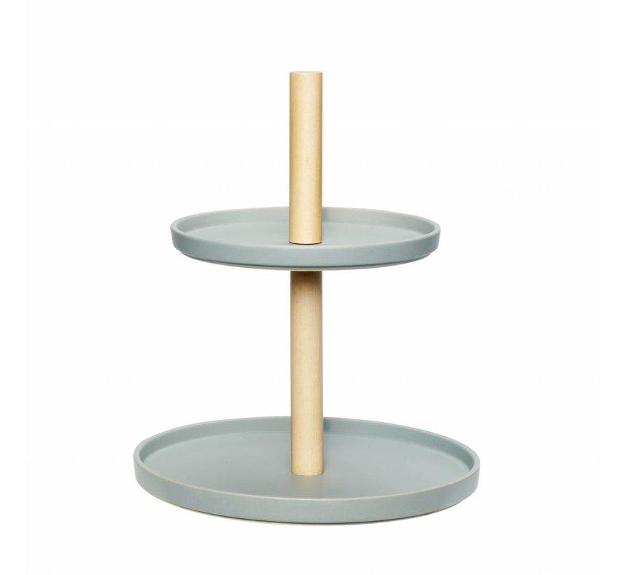 etagère tweelaags aardewerk/hout - blauw