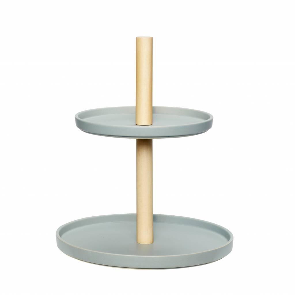 product- kleur - etagère tweelaags aardewerk/hout