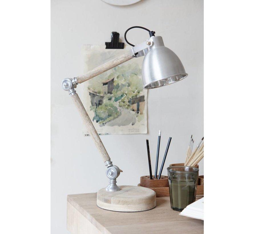 bureaulamp hout/ijzer - 56cm