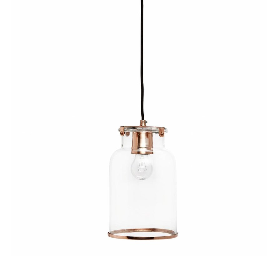 hanglamp transparant glas/koper