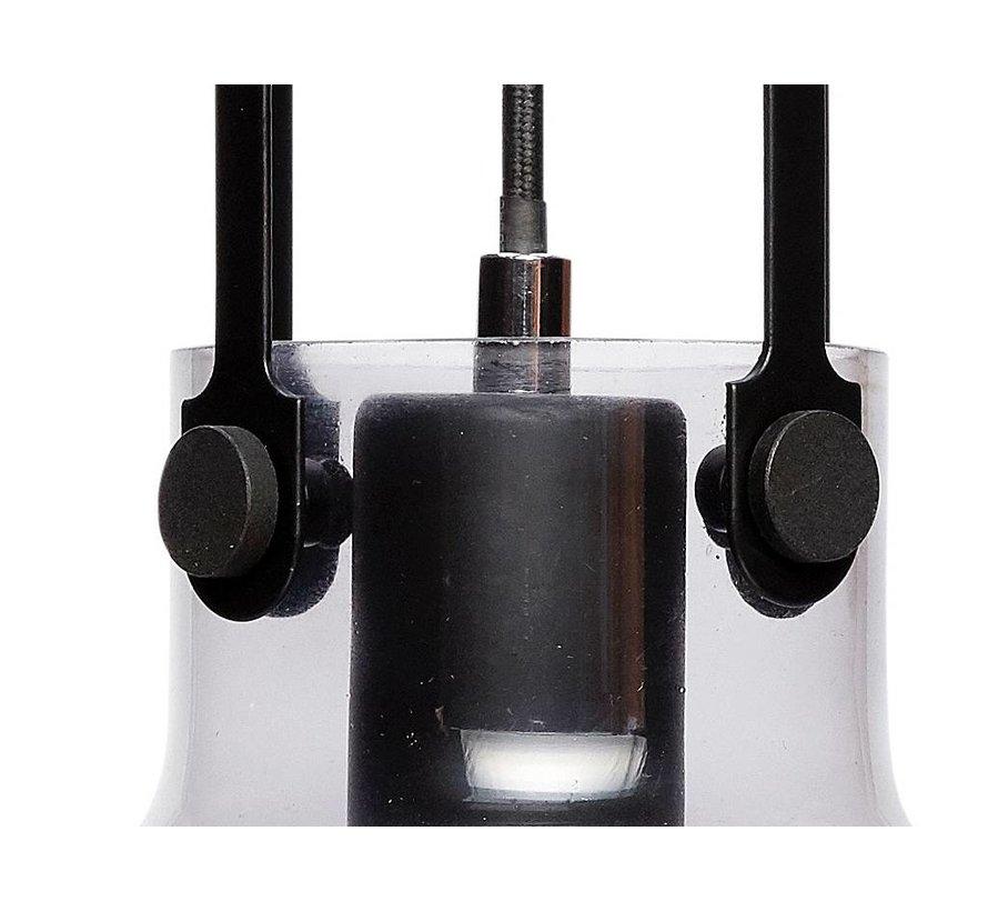 hanglamp transparant/zwart glas/metaal