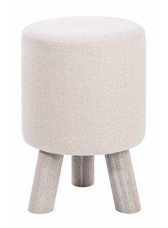 J-line kruk beige/grijs textiel/hout. J-line 65632748