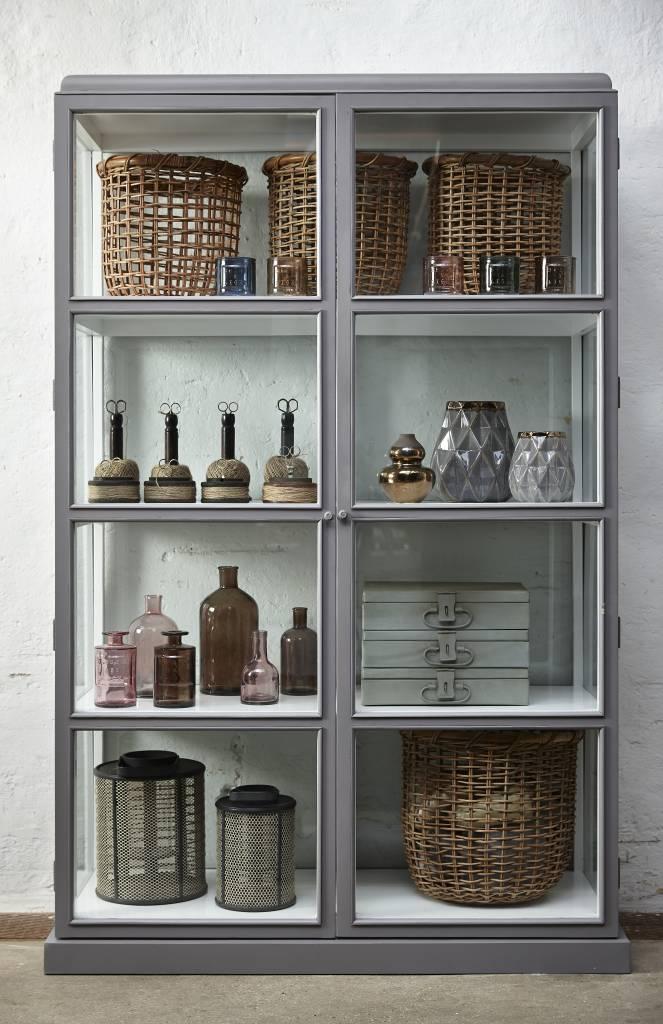 Fabulous Hübsch vitrinekast grijs/wit hout/glas - Winkel voor Thuis &GZ68