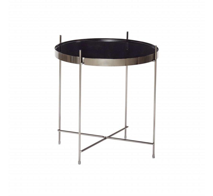 bijzettafel zwart metaal/glas