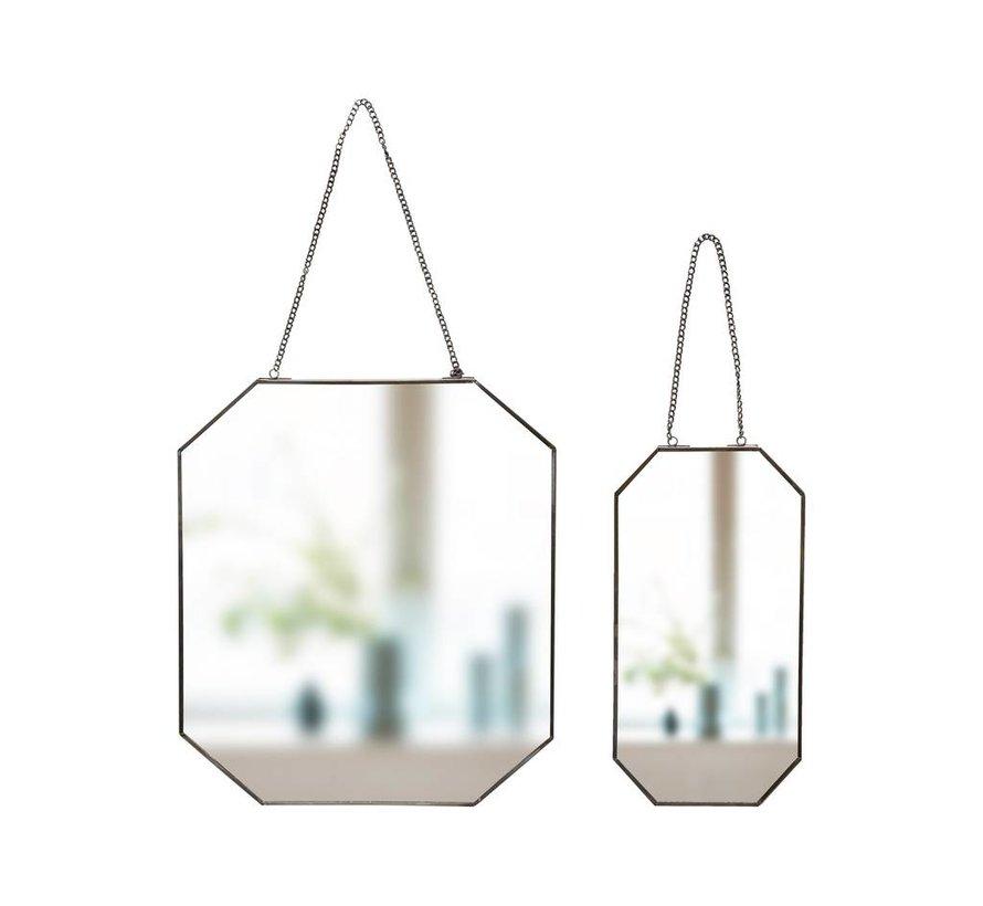 wandspiegel zwart metaal/glas s/2