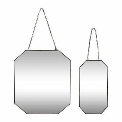 Hubsch wandspiegel zwart metaal/glas s/2. Hubsch 68498981