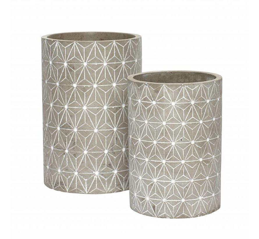 bloempot grijs beton