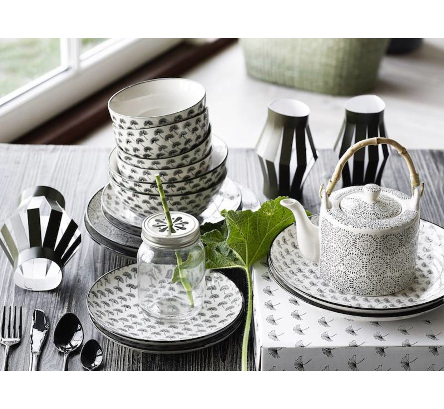 theepot zwart/wit aardewerk