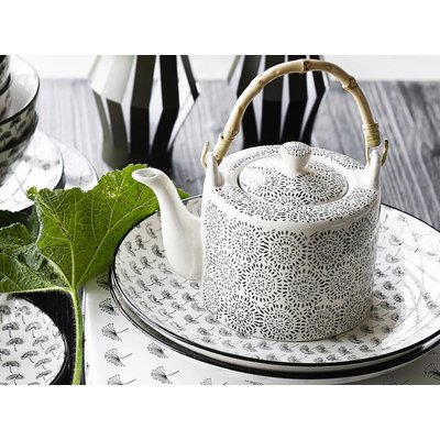 Nordal theepot zwart/wit aardewerk. Nordal 69410879