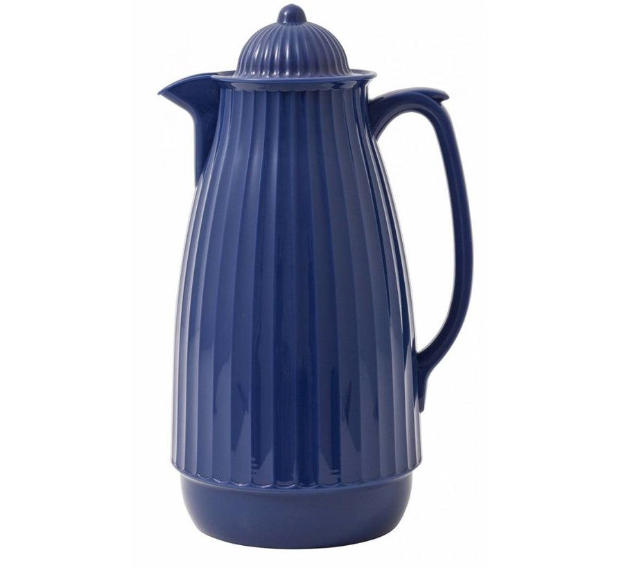 thermoskan blauw kunststof/glas
