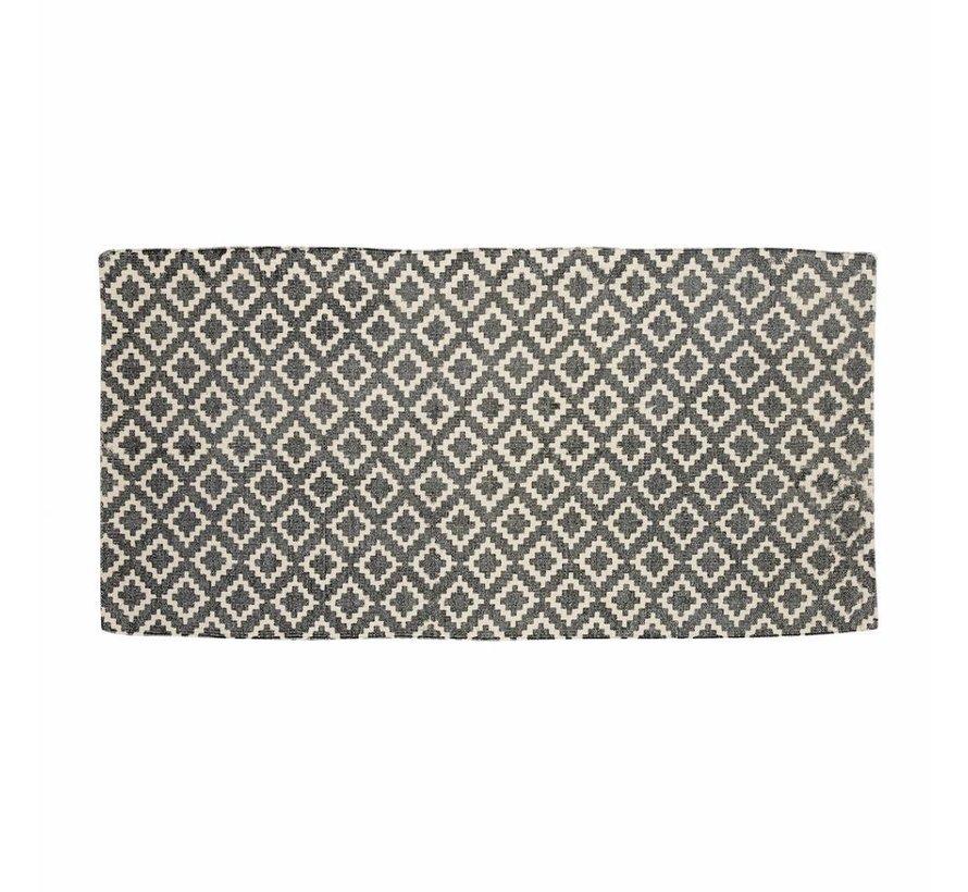 vloerkleed Patroon - naturel/grijs katoen - 60 x 120 cm