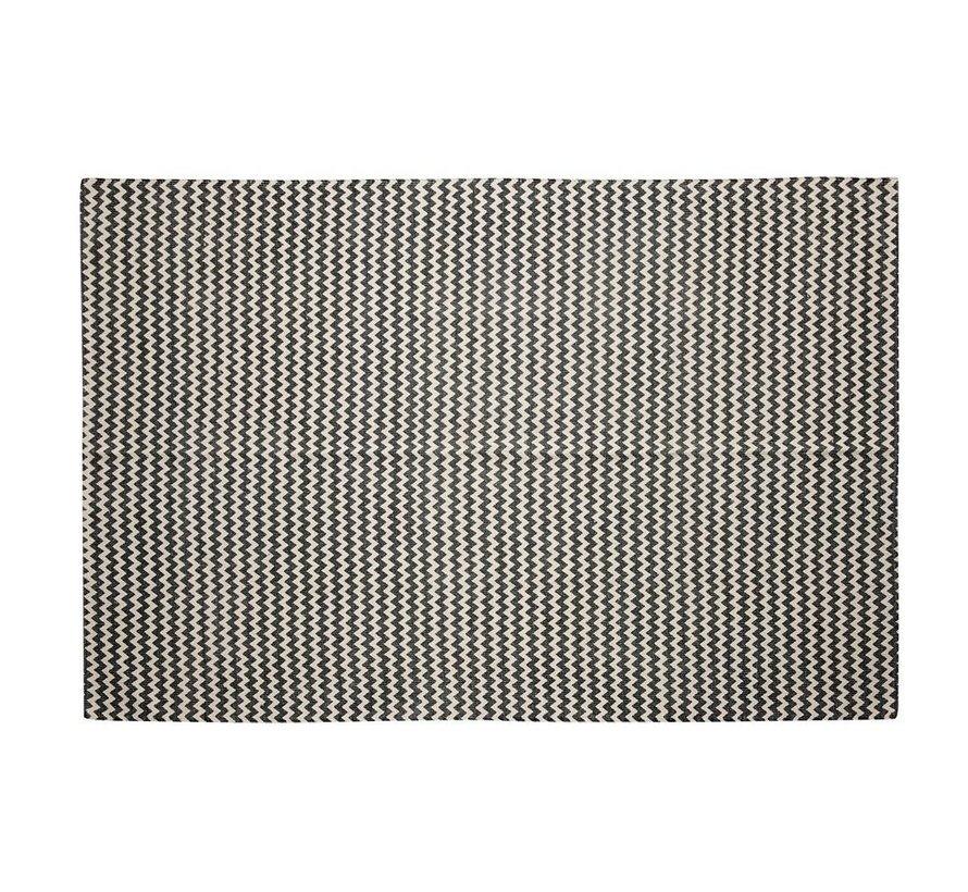 Vloerkleed Zigzag patroon - Grijs/naturel Katoen - 180 x 120 cm