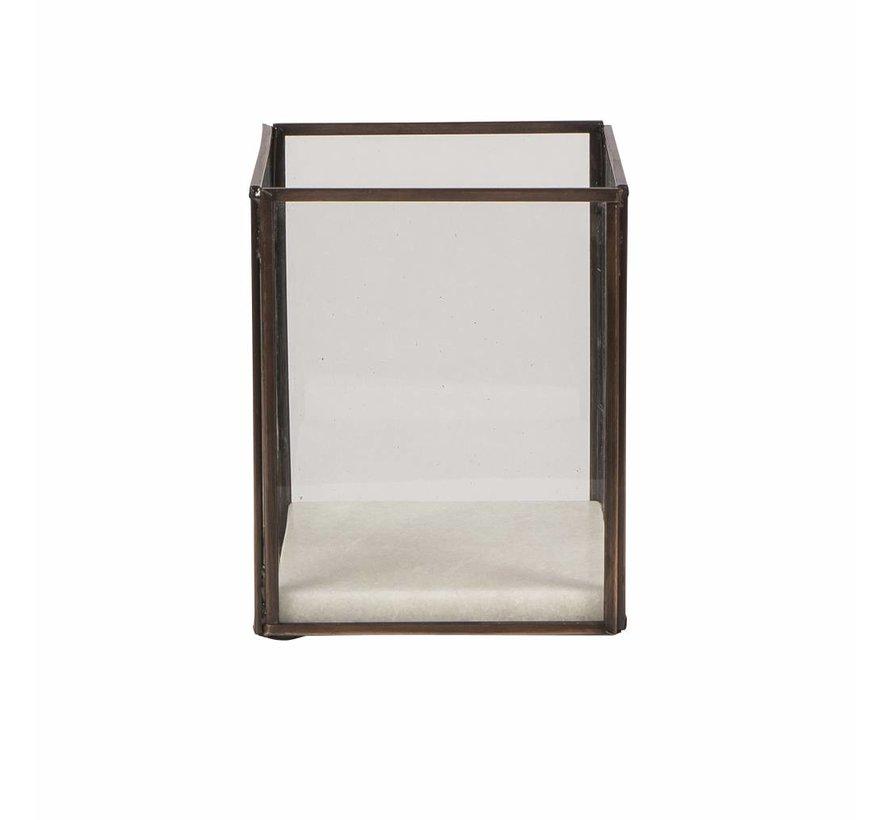windlicht koper/wit metaal/marmer/glas