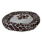 DOG BASKET ROUND VELVET LOOK CREAM GIRAFFE 58X10 CM