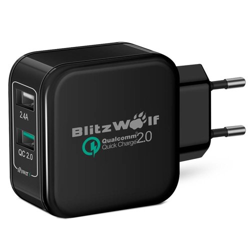BlitzWolf™ Quick Charge 2.0 & Power3S Tech Zwart