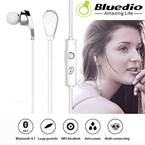 Bluedio Draadloze Bluetooth Oordopjes N2 V4.1 In-Ear Sport Wit
