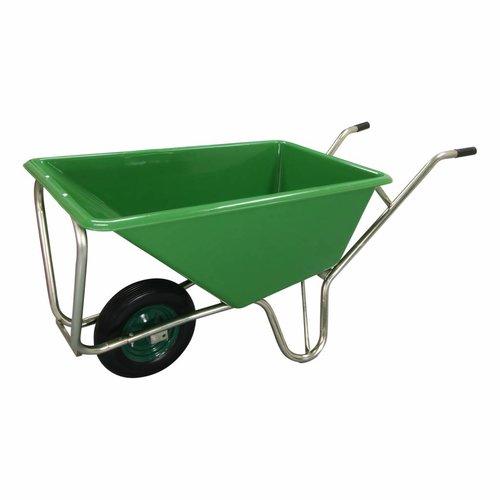 Kruiwagen Stal Eco Groen 160 liter Met Enkele Antilek Wiel