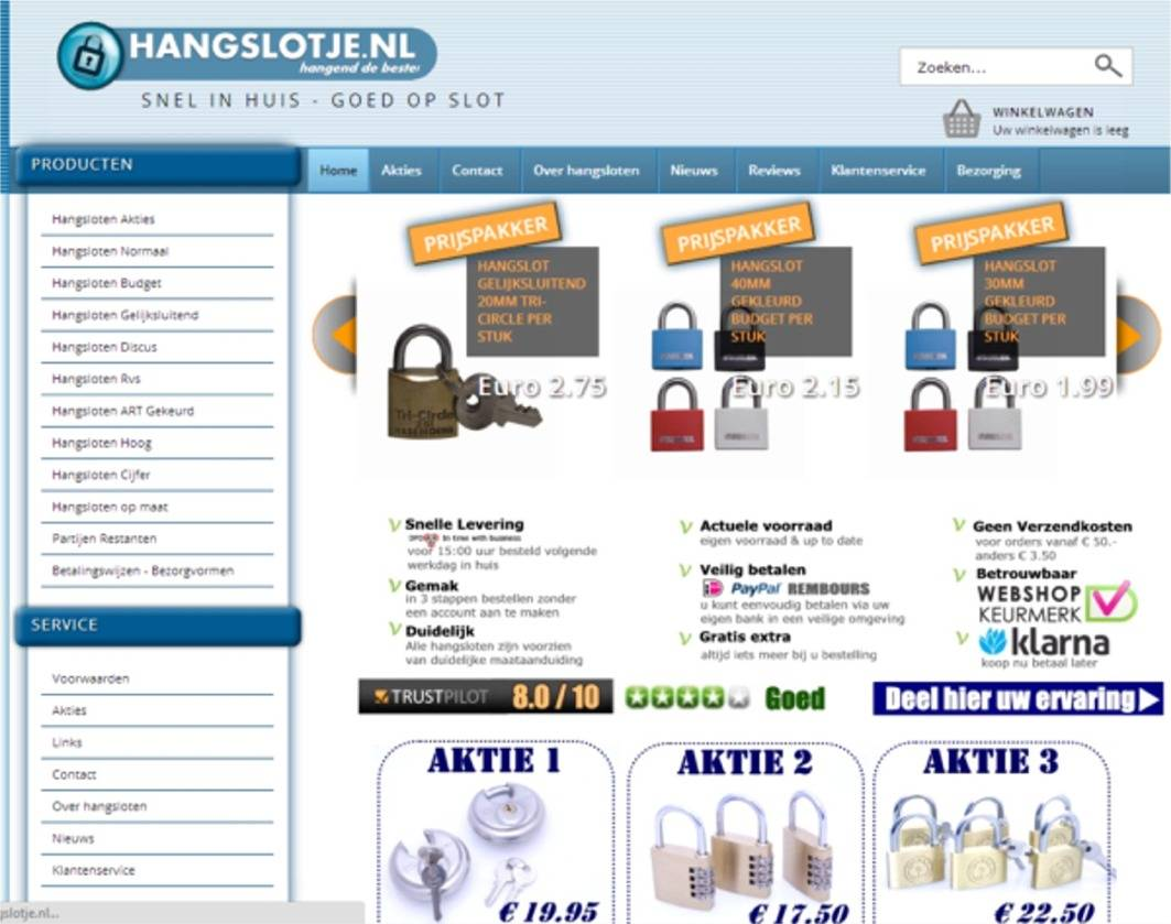 Nieuwe webshop voor hangslotje