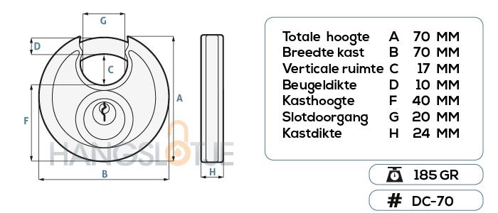 discus hangslot 70mm