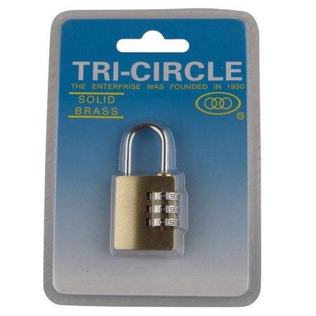 Tri-Circle Cijfersloten Messing 25mm