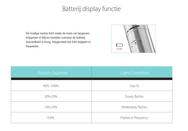 joyetech ego one batterij functie
