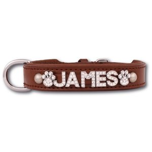 Doxtasy Hondenhalsband met naam Medium Brown
