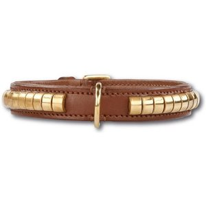 Doxtasy Dog Collar Gold Row Brown