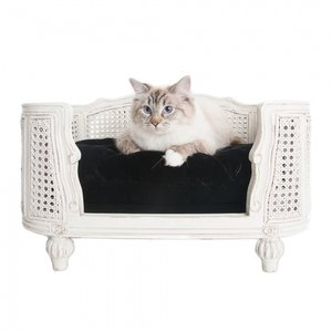 Lord Lou Cat Bed Arthur Black Velvet White Frame
