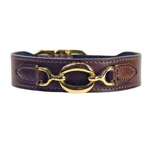 Hartman and Rose Dog Collar Hartman plated fittings Chocolate