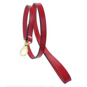 Hartman and Rose Dog Leash Hartman plated fittings Ferrari Red