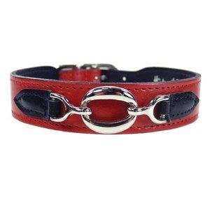 Hartman and Rose Dog Collar Hartman nickel fittings Ferrari Red & Black
