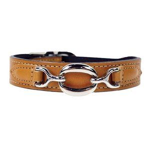 Hartman and Rose Dog Collar Hartman nickel fittings Natural Tan