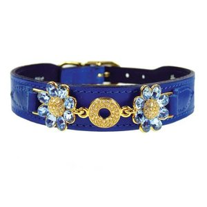 Hartman and Rose Dog Collar Daisy Cobalt Blue