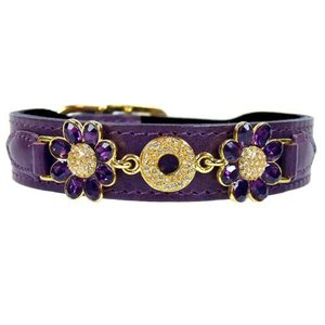 Hartman and Rose Dog Collar Daisy Papal Purple