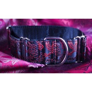 Petsonline Martingale Collar Brocade Shiny Red