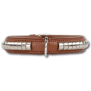 Doxtasy Dog Collar Silver Row Brown