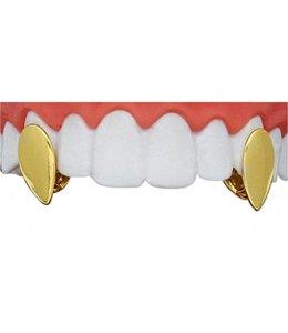 GrillzShop Gouden hoektand VAMPIRE 13x7 mm (gouden tand) set