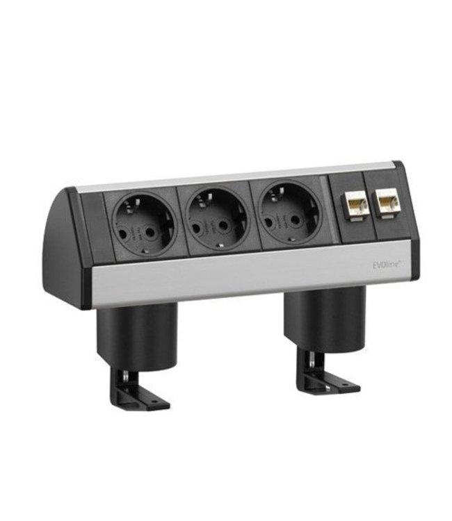 Evoline Dock Data Small Met Klem (3x230V) (2x RJ45)