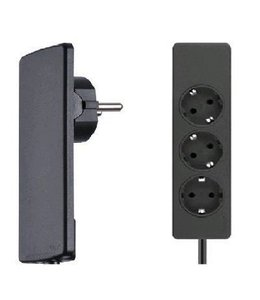 Evoline Plug platte stekker met stekkerdoos - Zwart