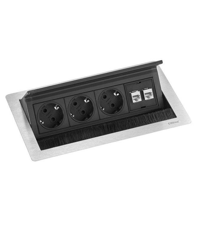 Evoline Fliptop RVS Push M (3x230V) (2xRJ45)