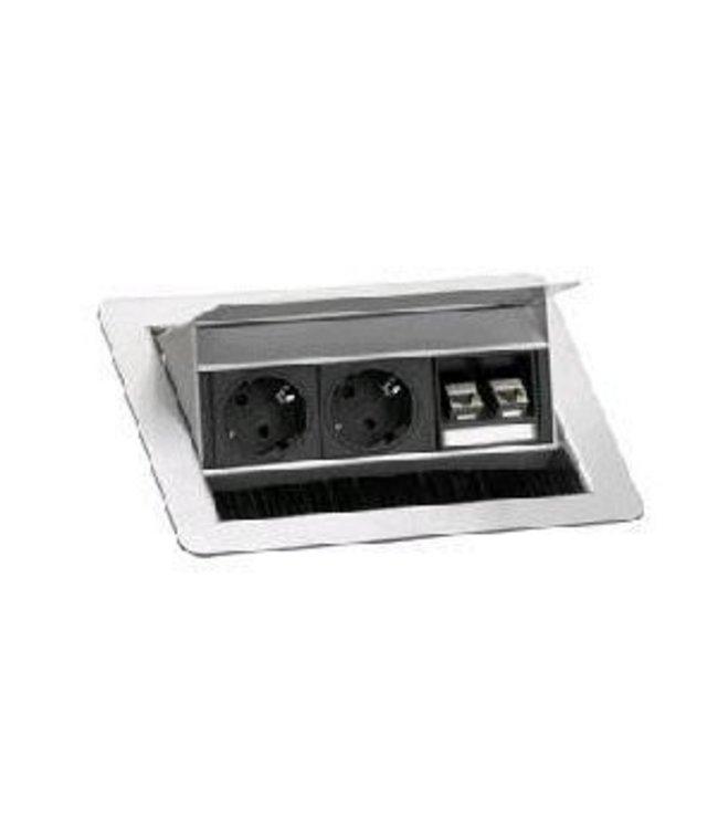 Evoline Fliptop RVS Push S (2x230V) (2xRJ45)