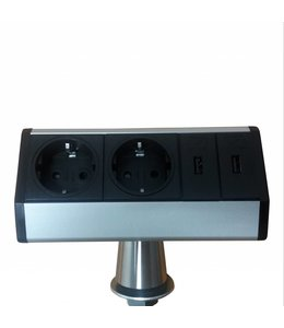 Evoline T-Dock (2x230V) (2x USB) Eindkappen Zwart