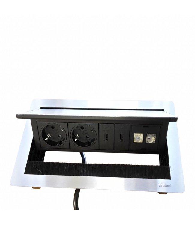 Evoline Fliptop RVS Push (2x 230V 2x USB Charger + 2x RJ45)