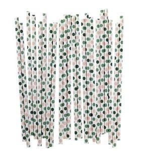 Blafre Design 25 papieren rietjes met stippen