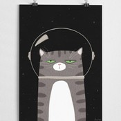 A Grape Design poster space cat