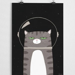 A Grape Design poster Space Katze